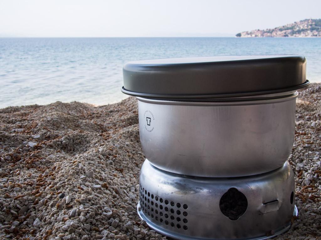 trangia camp stove on the beach