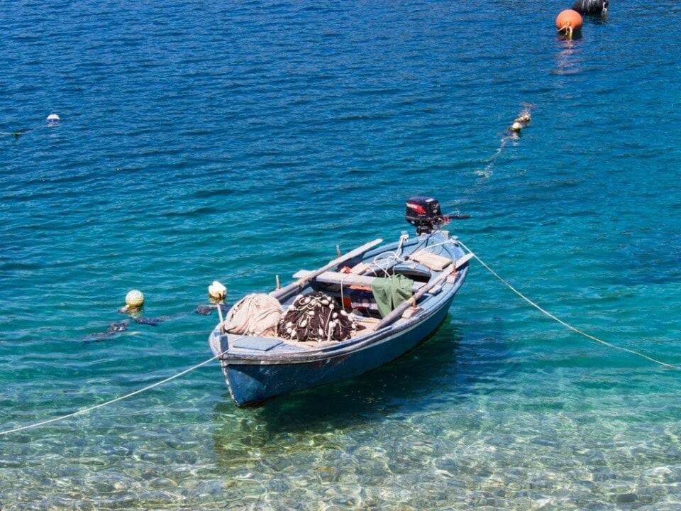 boat tied up on a lake mljet croatia