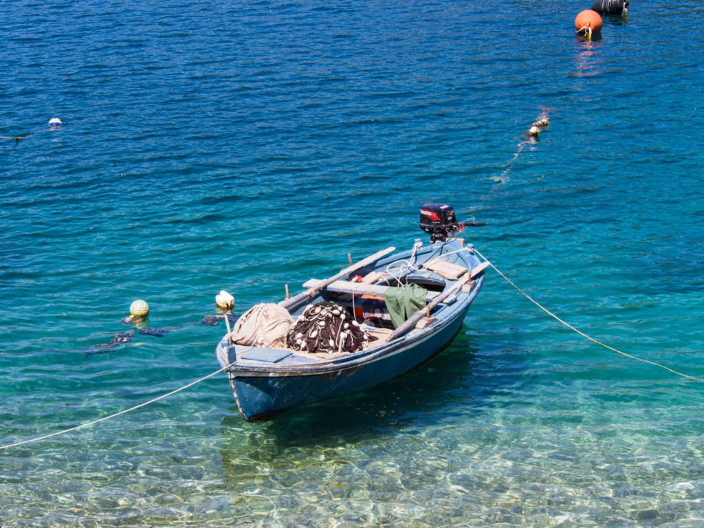 boat tied up on a lake mljet croatia