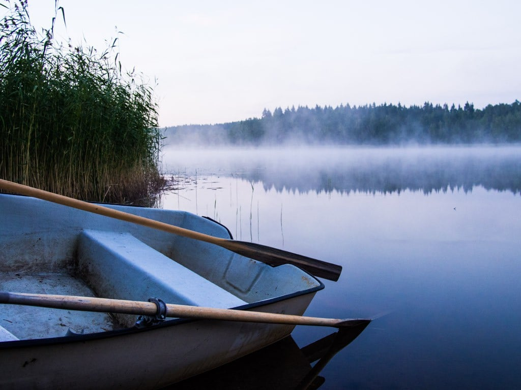 boat on a lake in finland