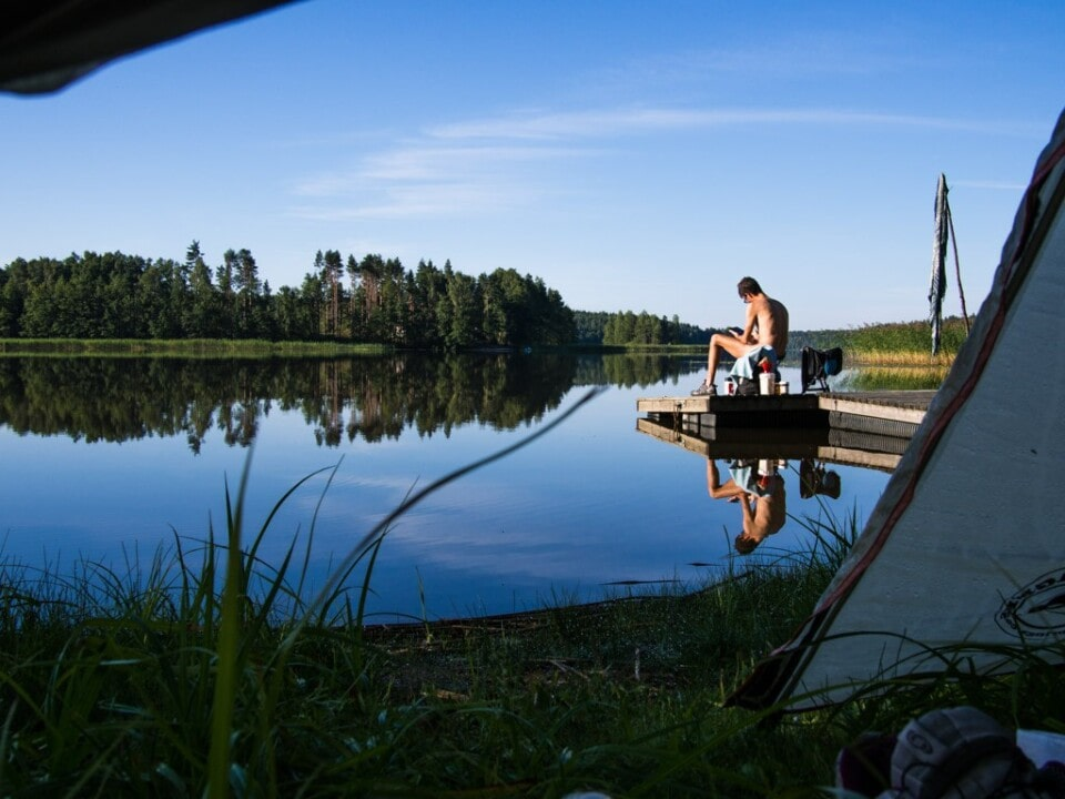 view from our tent in norrby finland