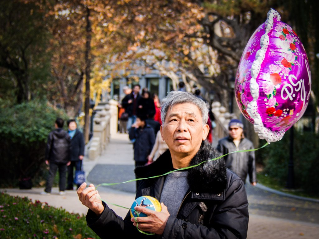 Granddad's balloon, Zhongshan Park, Shanghai, People At Play photo exercise.