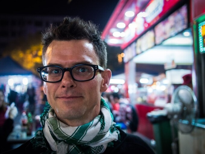 stephen in a street in china