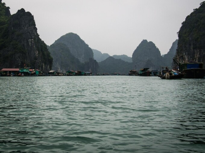 water and karst mountains off cat ba island