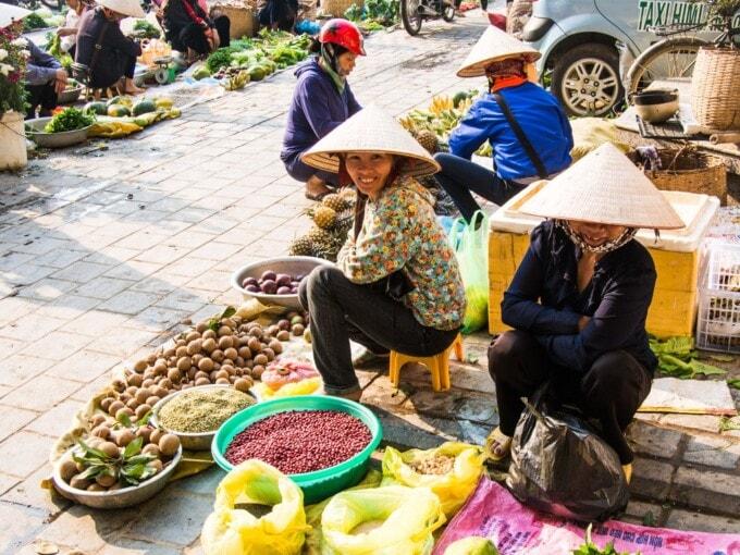 Ladies working at the market in Dien Bien Phu Vietnam
