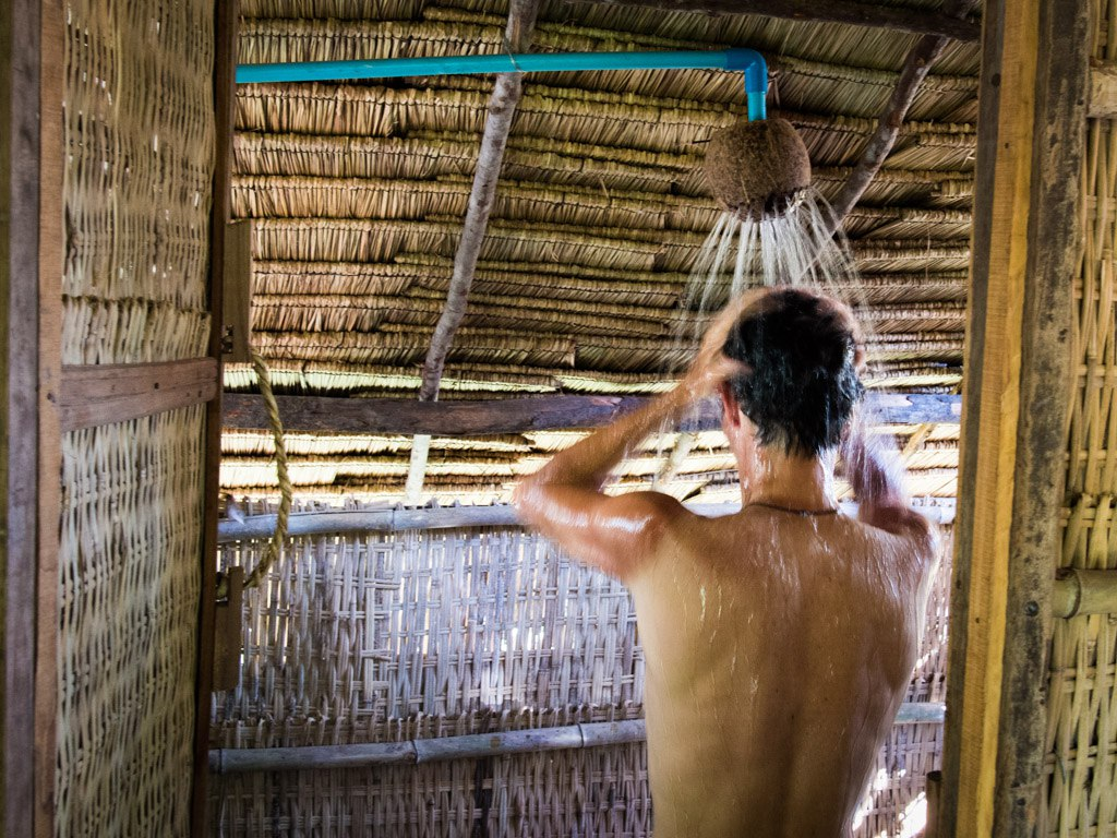 Coconut shower in our bungalow at Samon Village, Kampot.