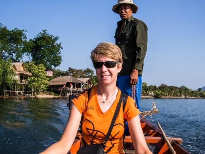 taking a boat ride in Kampot