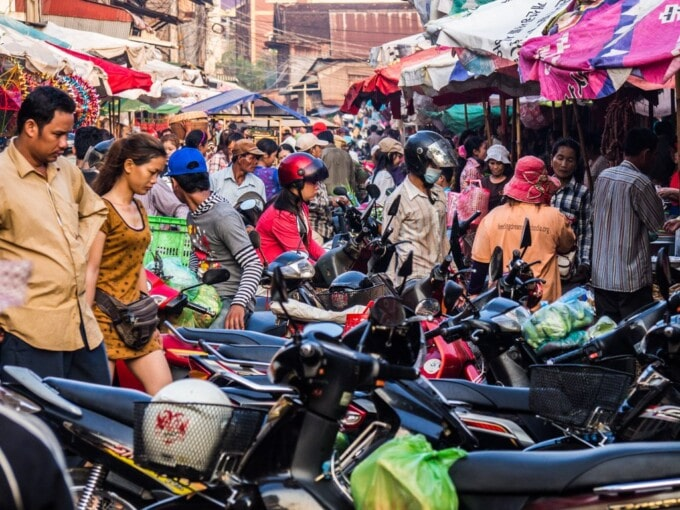 motorbikes lined up in siem reap Cambodia