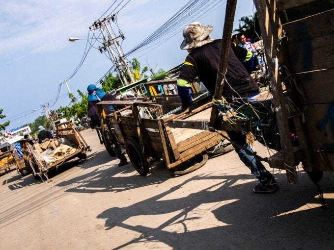 carts being pulled across the cambodia border at sisophon