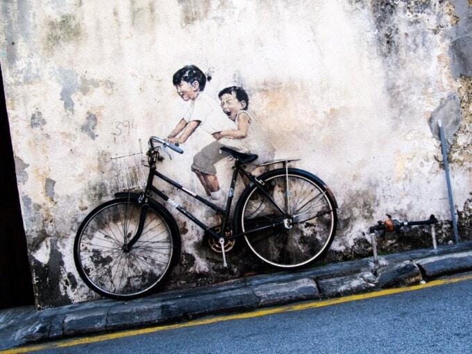 bicycle street art panang george town