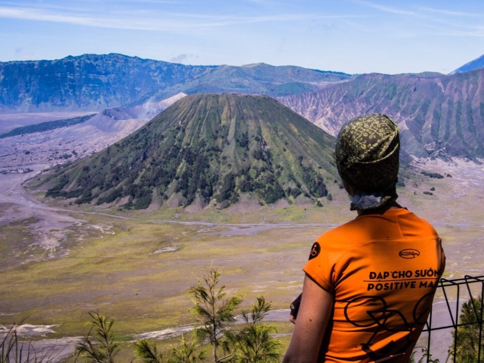 jane looking over a caldera at mount bromo