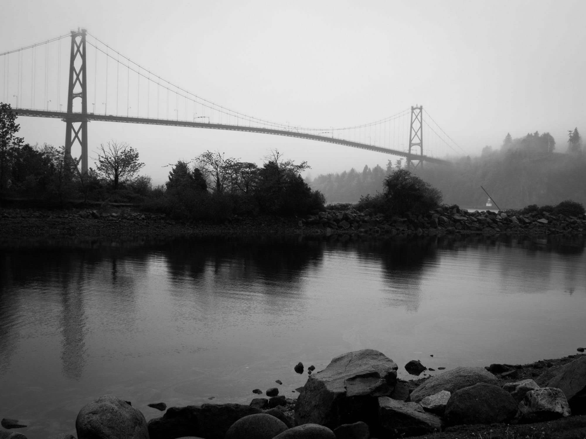 Lions Gate in the mist from the Spirit Trail, Vancouver, BC.