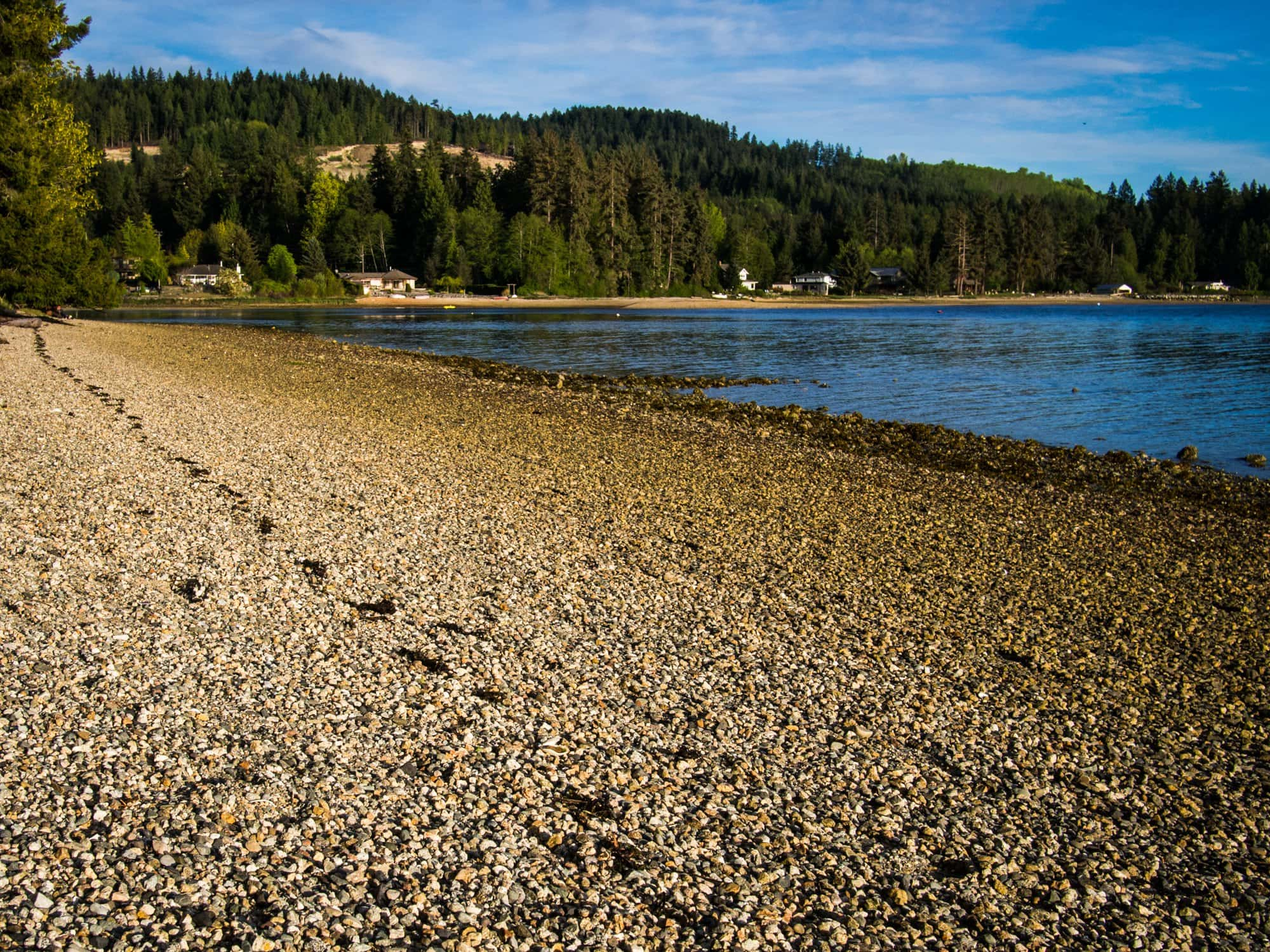 The golden beach at Porpoise Bay Provincial Park.