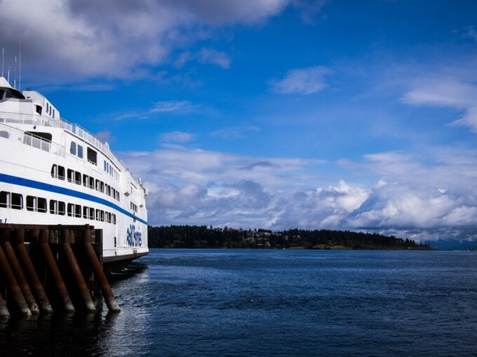 bc ferry on blue water