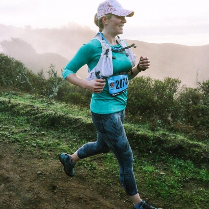 the author during a trail run race