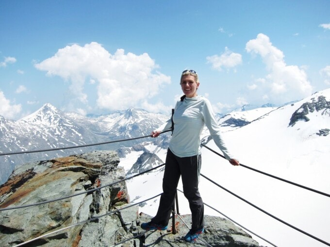 the author on a snow-capped peak in switzerland