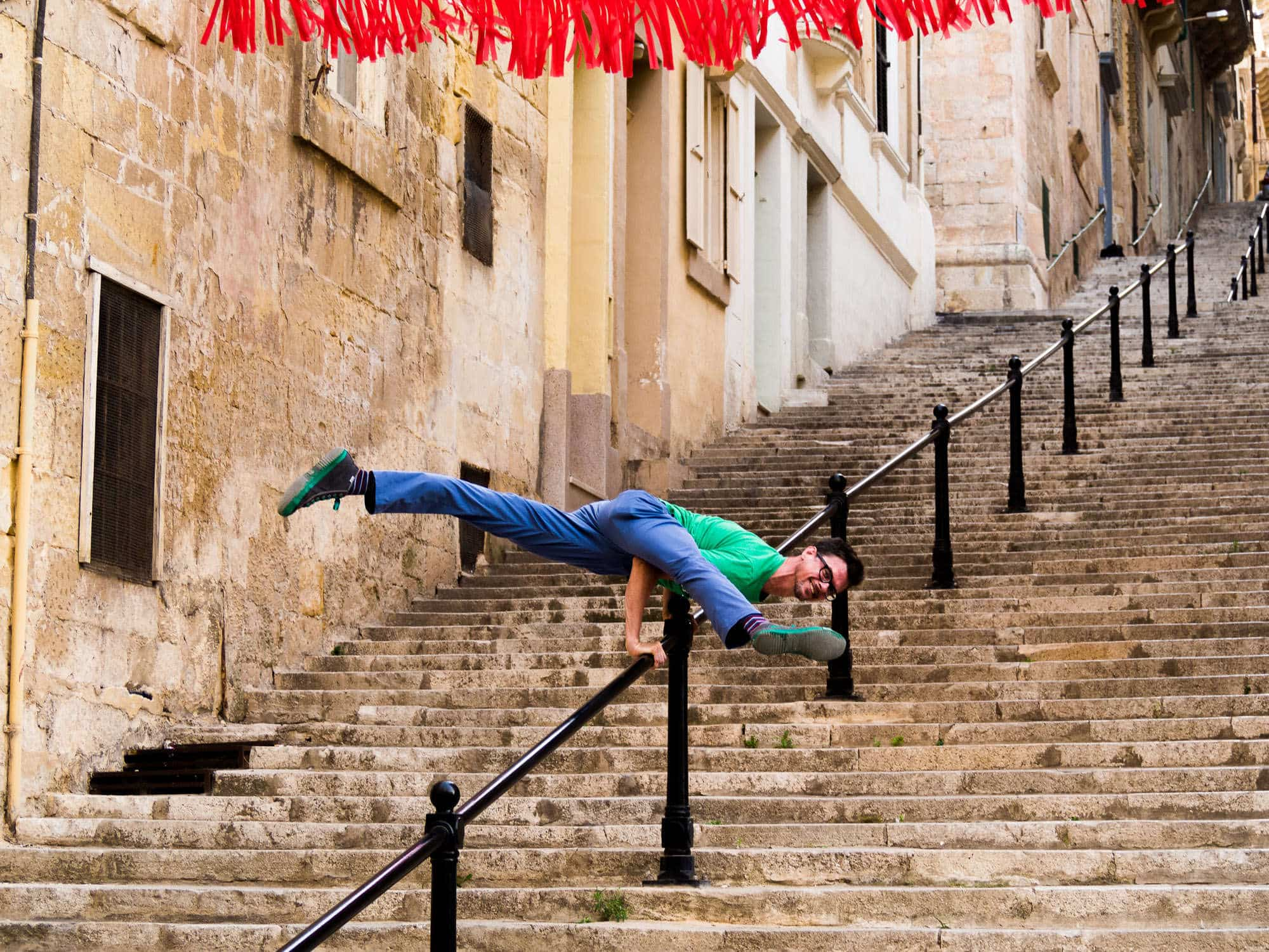 stephen yoga pose in valletta malta