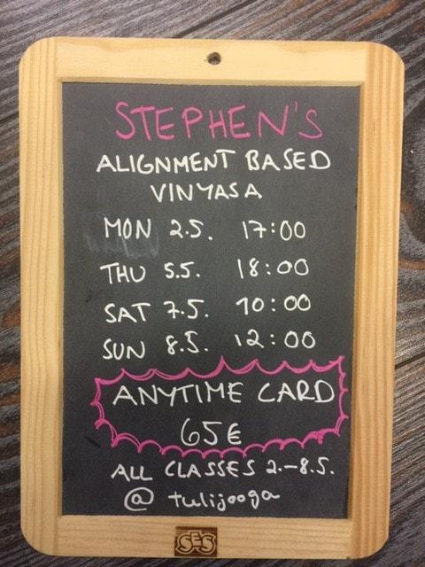 Stephen's May schedule for Tulijooga, Helsinki