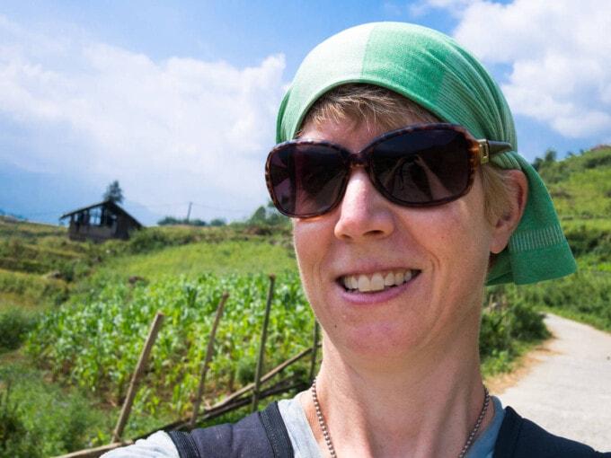 selfie of jane trekking in Sapa Vietnam