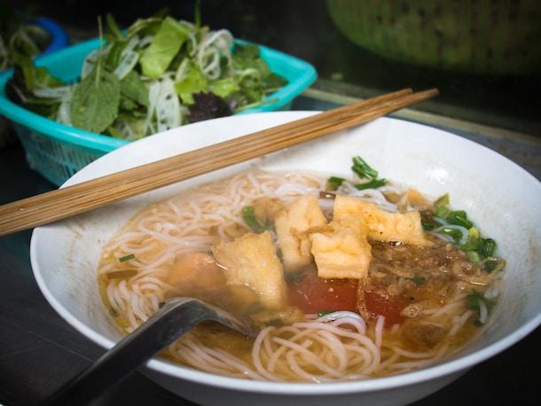 bun rieu from a street stall in hanoi