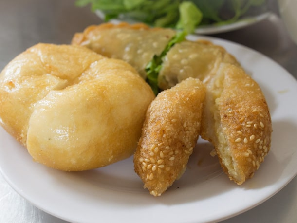 plate of vegetarian fried breads