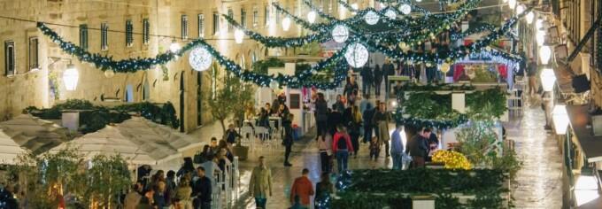 main street of dubrovnik croatia decorated for christmas