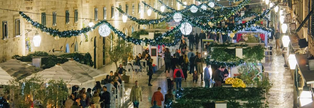 main street of dubrovnik croatia decorated for christmas