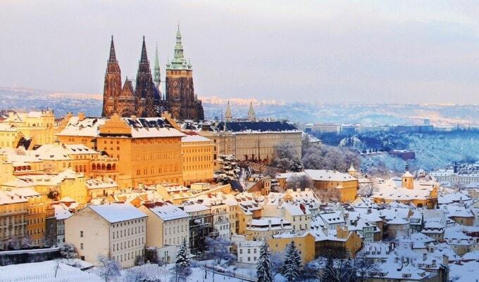 castle in the snow prague czech republic