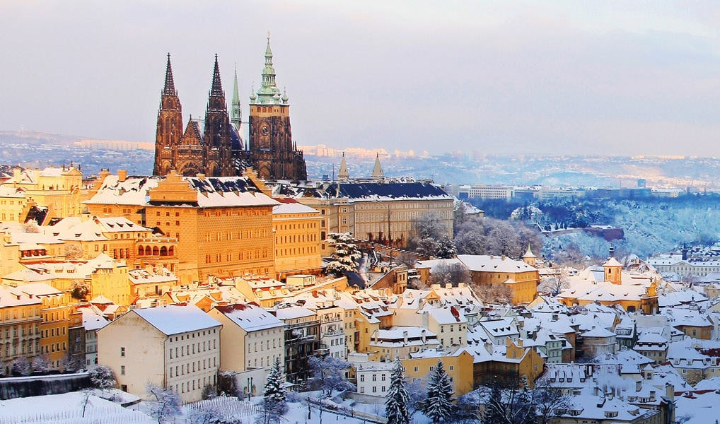 castle in the snow prague czech republic