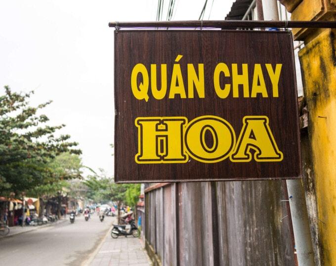 sign for vegan food in Vietnam
