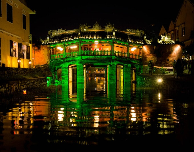 Hoi An bridge at night Vietnam