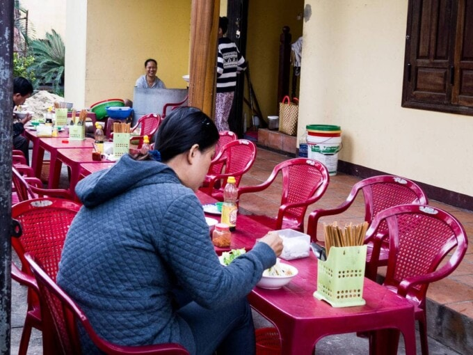 vegan noodles outside a buddhist temple in vietnam
