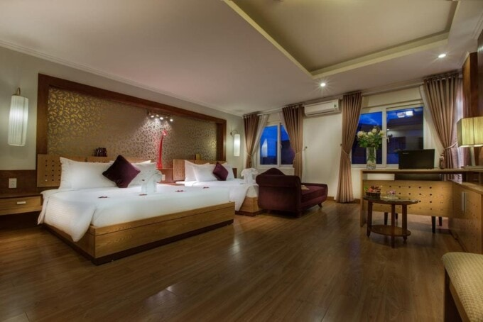 Upscale large hotel room in Hanoi