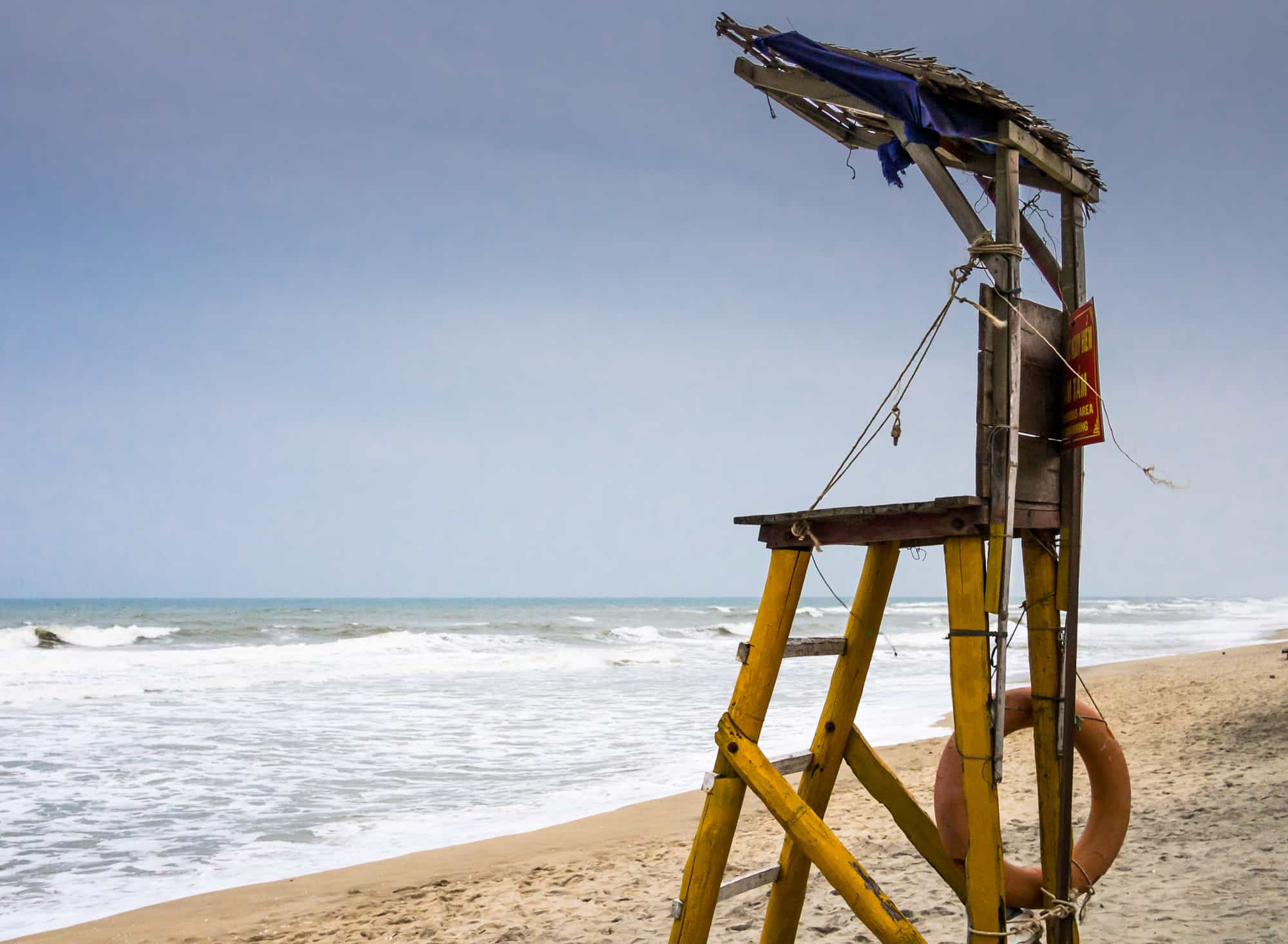 lifeguard chair on the beach in hoi an