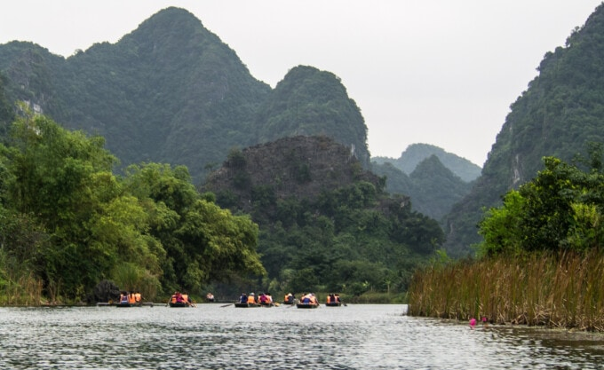 karst landscape on the river in tam coc