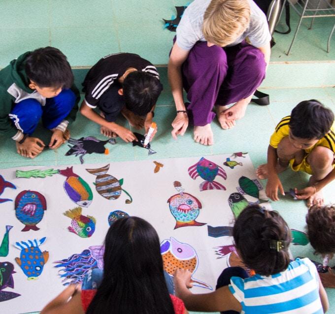 art project with raglai vietnamese children