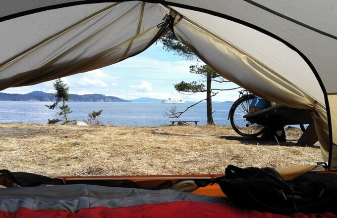 tent at ruckle point campground salt spring island canada