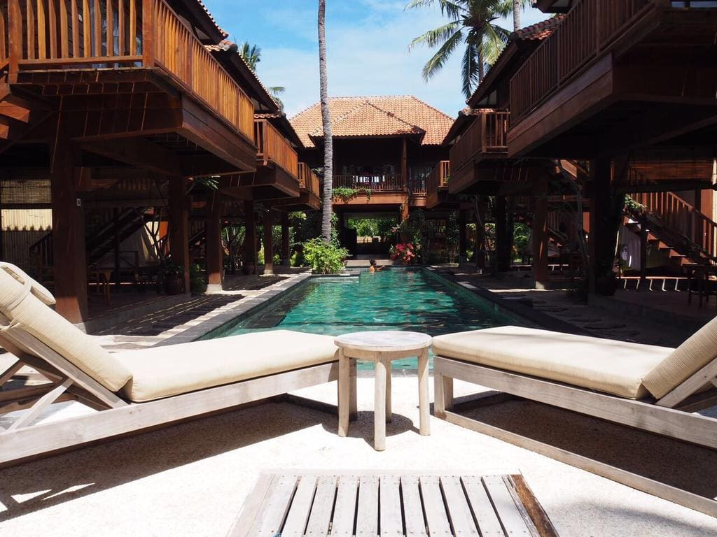 Gili Island Hotels Skip The Double Rooms Here And Go Straight For Twin Bungalow Which Is A Two Y Wooden With Outdoor Covered Dining Area