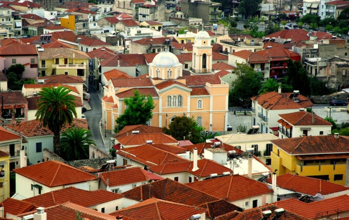 red rooftops and church in kalamata greece