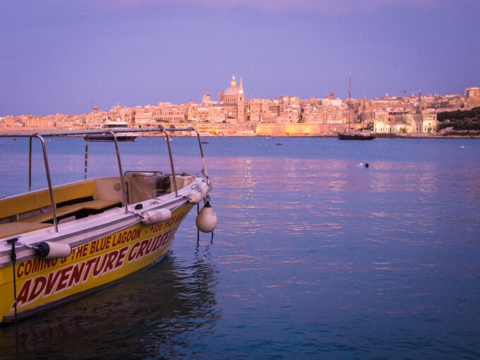malta boat and old city