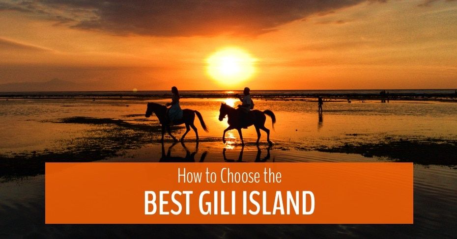 blog image for best gili islands showing horses on the beach at sunset