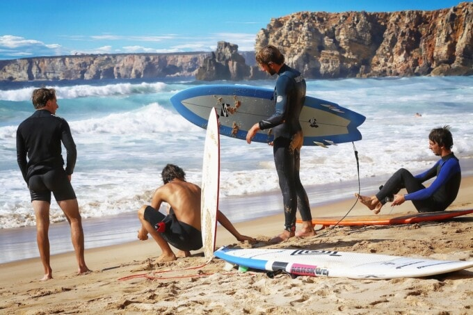 surf and yoga on the beach in portugal