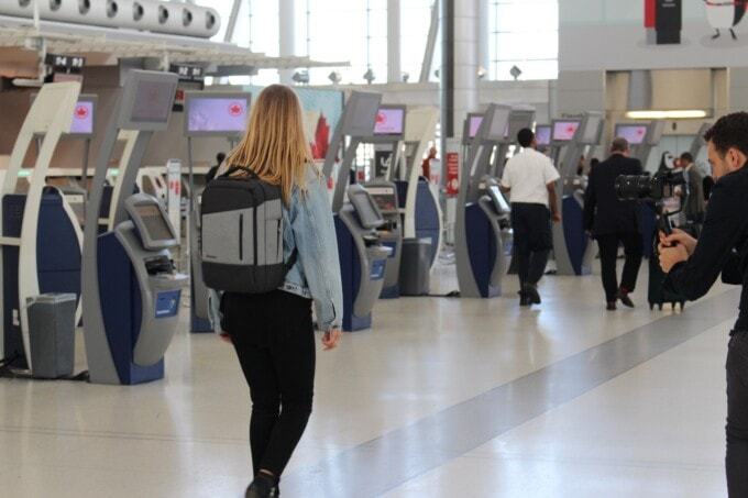 wear your backpack at the airport
