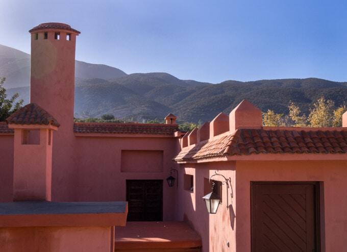pink restaurant building at domaine de la roseraie