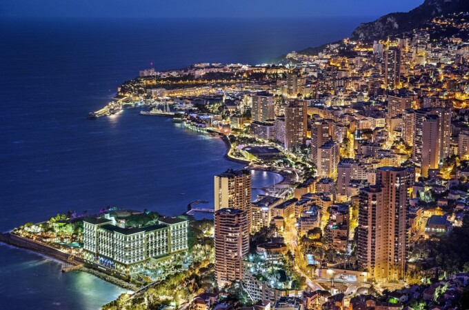 city lights on the water in monte carlo monaco
