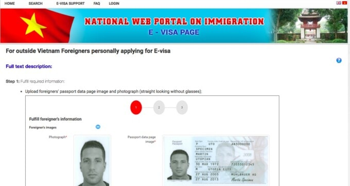 screen grab from the official vietnam e-visa website