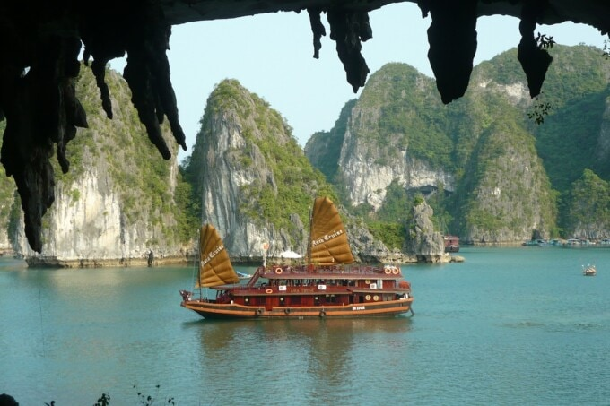 a wooden ship in ha long bay