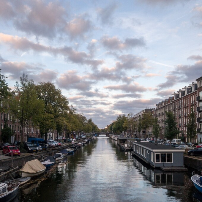 canal in amsterdam at sunset