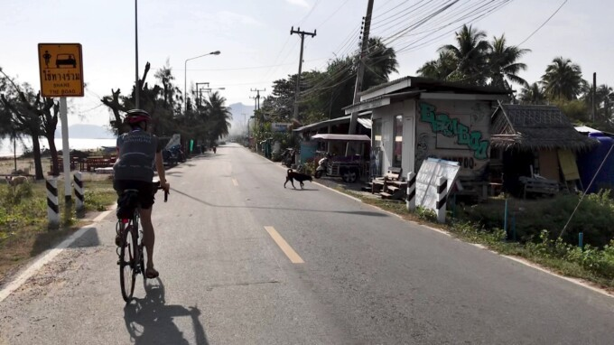 Thailand cycle tour small village on quiet road