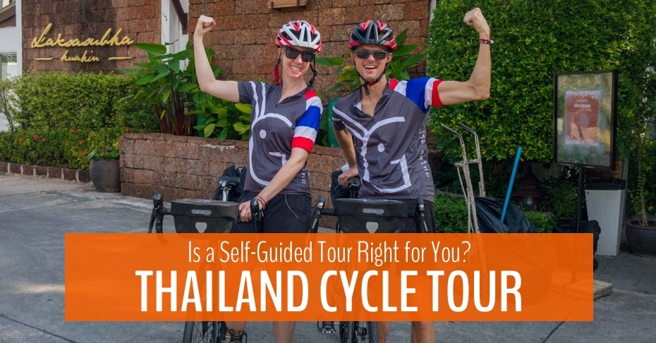 two people with bicycles thailand cycle tour